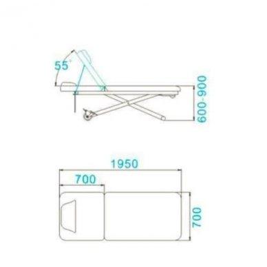 Dviejų dalių elektrinis masažo stalas 329D, baltos sp. 3