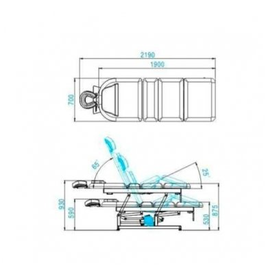 Elektrinis masažo stalas - lova AZZURRO 693A, 1 variklis, baltos sp. 2