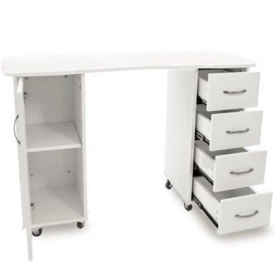 Manikiūo stalas BIURKO 2027 BP, su 4 stalčiais ir spintele, baltas 3