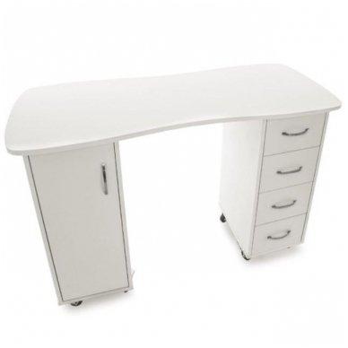 Manikiūo stalas BIURKO 2027 BP, su 4 stalčiais ir spintele, baltas 4