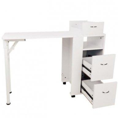 Manikiūro stalas, 2051 su trim stalčiais, baltas 3