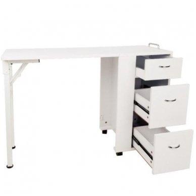 Manikiūro stalas, 2051 su trim stalčiais, baltas 2