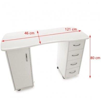 Manikiūo stalas BIURKO 2027 BP, su 4 stalčiais ir spintele, baltas 5
