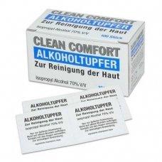 Dezinfekuojančios spiritinės servetėlės CLEAN COMFORT 3cm x 3cm, 100 vnt.