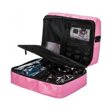 Dviejų skyrių makiažo krepšys KC-MAC01, rožinės sp. 4