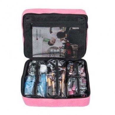 Dviejų skyrių makiažo krepšys KC-MAC01, rožinės sp. 5