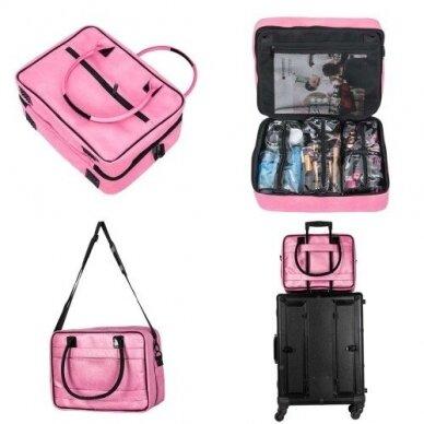 Dviejų skyrių makiažo krepšys KC-MAC01, rožinės sp. 7