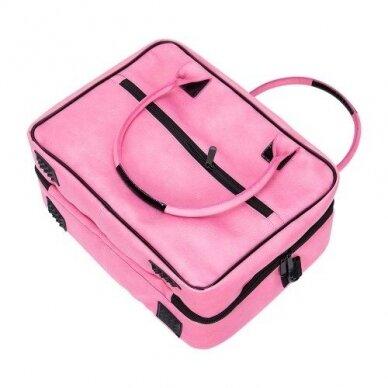Dviejų skyrių makiažo krepšys KC-MAC01, rožinės sp. 6