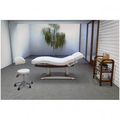 Elektrinė masažo lova Weelko Troch Dark Base, 4 varikliai, baltos/rudos sp. 3