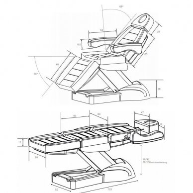 Elektrinis kosmetologinis gultas Weelko Clavi, 3 varikliai, baltos sp. 2