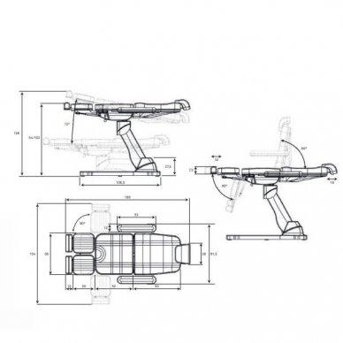 Elektrinis pedikiūro krėslas Weelko PLANT, 3 varikliai, baltos sp. 7