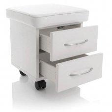 Pedikiūro kėdutė su 2 stalčiais, baltos sp.