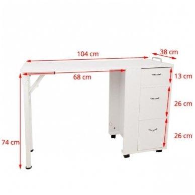 Manikiūro stalas, 2051 su trim stalčiais, baltas 6