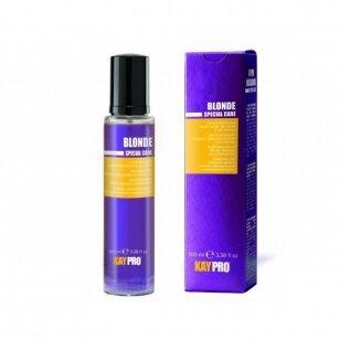 KAY PRO Blonde šviesinantis serumas su safyru šviesintiems, sruogelėmis dažytiems plaukams, 100 ml