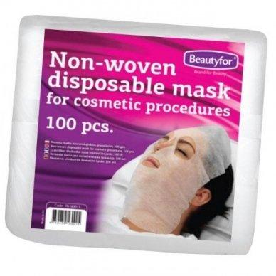 Kaukė kosmetinėms procedūroms iš neaustinės medžiagos, balta, 100 vnt. Beautyfor