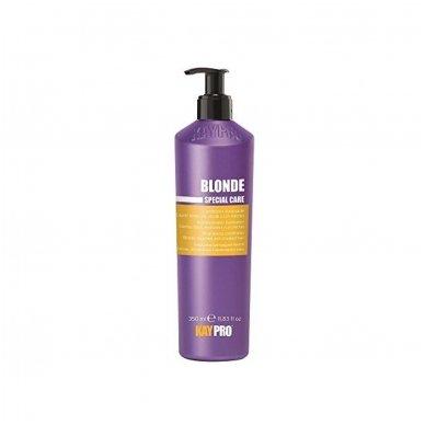 KAY PRO Blonde šviesinantis kondicionierius su safyru šviesintiems, sruogelėmis dažytiems plaukams, 350ml