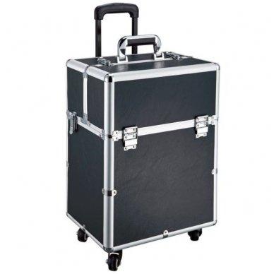Kelioninis lagaminas vizažo, kirpėjo priemonėms GLAMOUR D-9006, juodos sp.