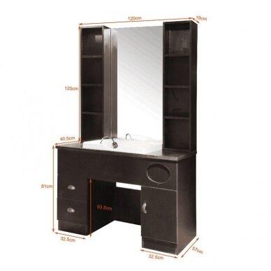 Kirpyklos konsolė su veidrodžiu ir plautuve QT-005 4