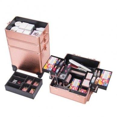 Kosmetikos - vizažo lagaminas 4В1 KC-TR007 ROSE GOLD 4