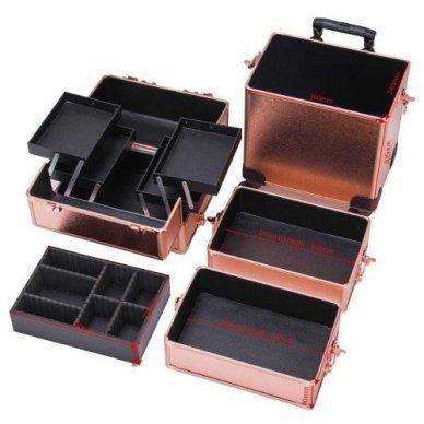 Kosmetikos - vizažo lagaminas 4В1 KC-TR007 ROSE GOLD 5
