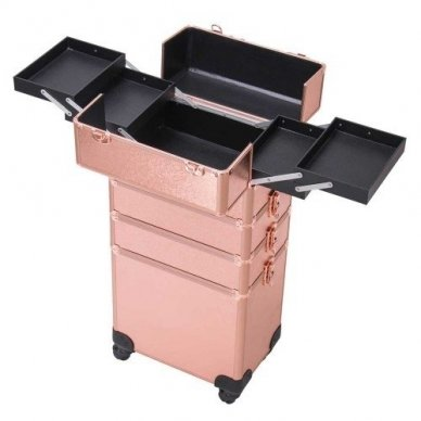 Kosmetikos - vizažo lagaminas 4В1 KC-TR007 ROSE GOLD