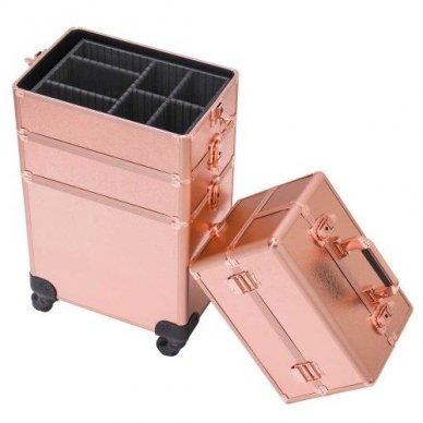 Kosmetikos - vizažo lagaminas 4В1 KC-TR007 ROSE GOLD 8