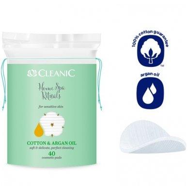 Kosmetiniai vatos diskeliai, ovalūs, Cleanic Argan, 40vnt 2
