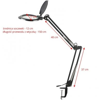 Kosmetologinė LED lempa su lupa MOONLIGHT, tvirtinama prie stalo 113963 4