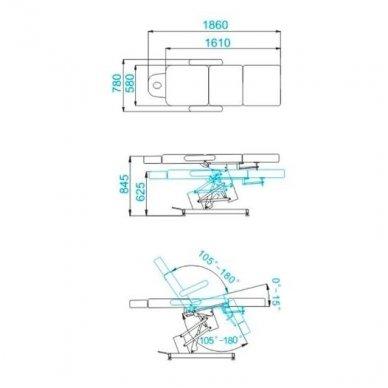 Kosmetologinis elektrinis krėslas-lova AZZURRO 705, juodos sp. 6