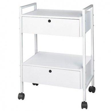 Kosmetologinis vežimėlis Weelko Easy+, 2 stalčiai, baltos sp.