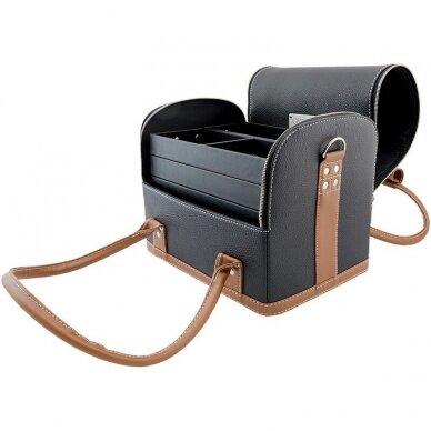Lagaminas OSOM Professional juodas su rudomis rankenomis 4