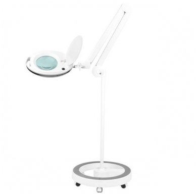 LED lempa su lupa ir stovu ELEGANTE 6027 60 LED SMD 5D, baltos sp.
