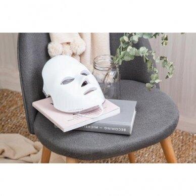 LED šviesos terapijos kaukė veidui Be OSOM, fotodinaminė šviesos terapija, sidabrinės sp. 2