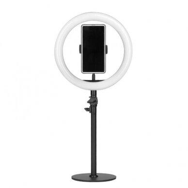 """LED žiedinė vizažo lempa RING LIGHT 10"""" 8W, aukštis 55cm"""