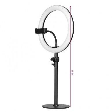 """LED žiedinė vizažo lempa RING LIGHT 10"""" 8W, aukštis 55cm, baltos sp. 3"""