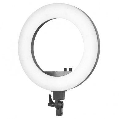 "Lempa RING LIGHT 18"" 48W LED su stovu, juodos sp. 3"