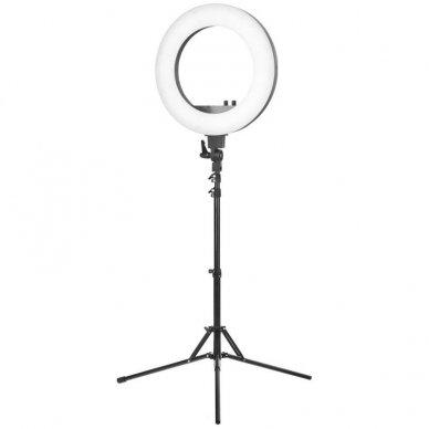 "Lempa RING LIGHT 18"" 48W LED su stovu, juodos sp."