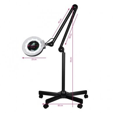 Lempa su padidinamuoju stiklu + stovas S5 LED, juodos sp. 7