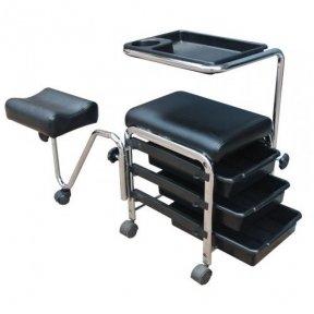 Manikiūro - pedikiūro vežimėlis/kėdutė su pakoju CH-5005A, juodos sp.