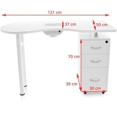 Manikiūro stalas su dulkių sutraukėju, baltos spalvos 4
