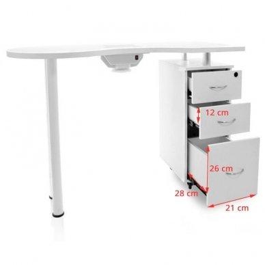 Manikiūro stalas su dulkių sutraukėju, baltos spalvos 5