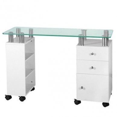 Manikiūro stalas su stikliniu stalviršiu , stalčiais ir spintele GLASS 013C