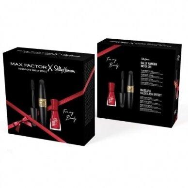 MAX FACTOR kosmetikos rinkinys: False Lash Effect juodas blaksienų tušas + Sally Hansen nagų lakas 3