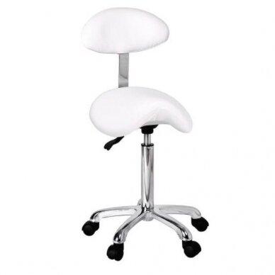 Meistro kėdutė, balno formos, Weelko Organic, baltos sp.