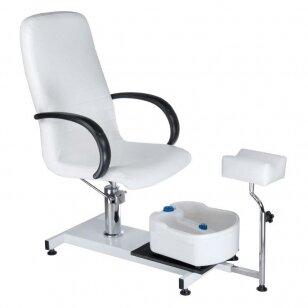 Pedikiūro krėslas su pakoju ir imontuota vonele BW-100, baltos sp.