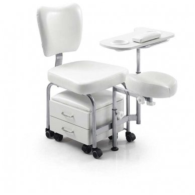 Pedikiūro kėdė su vežimėliu Weelko Tendy, baltos sp.