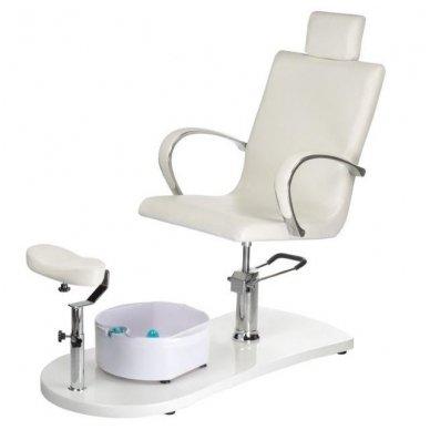 Pedikiūro krėslas su masažine vonele BR-2308, baltos sp.