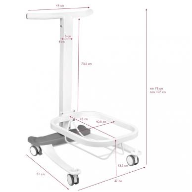 Pedikiūro vonelės vežimėlis su dubeniu COMFORT 2