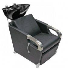 Plautuvė kirpykloms su krėslu ir keramikine balta praustuve, juoda