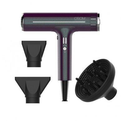 Plaukų džiovintuvas Osom Professional Hair Dryer, bordo sp., ilgaamžis BLDC variklis, 1800W 4